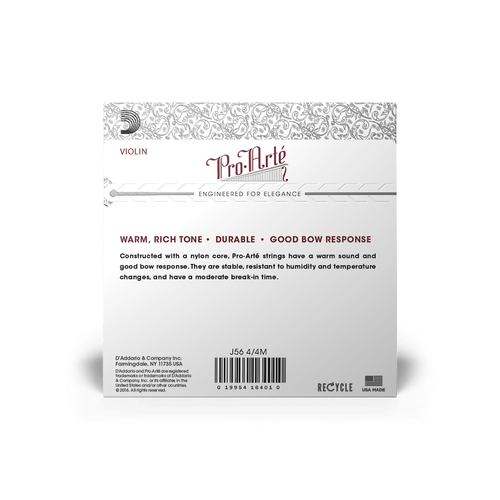 4//4 Medium Tension D/'Addario Pro-Arte Violin Single Aluminum Wound E String