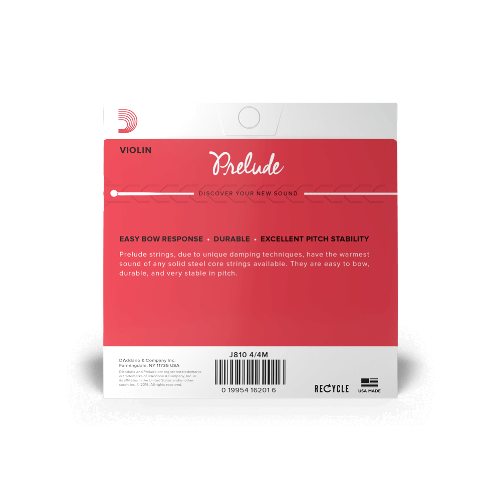 4//4 Scale Medium Tension D/'Addario Prelude Violin Single A String