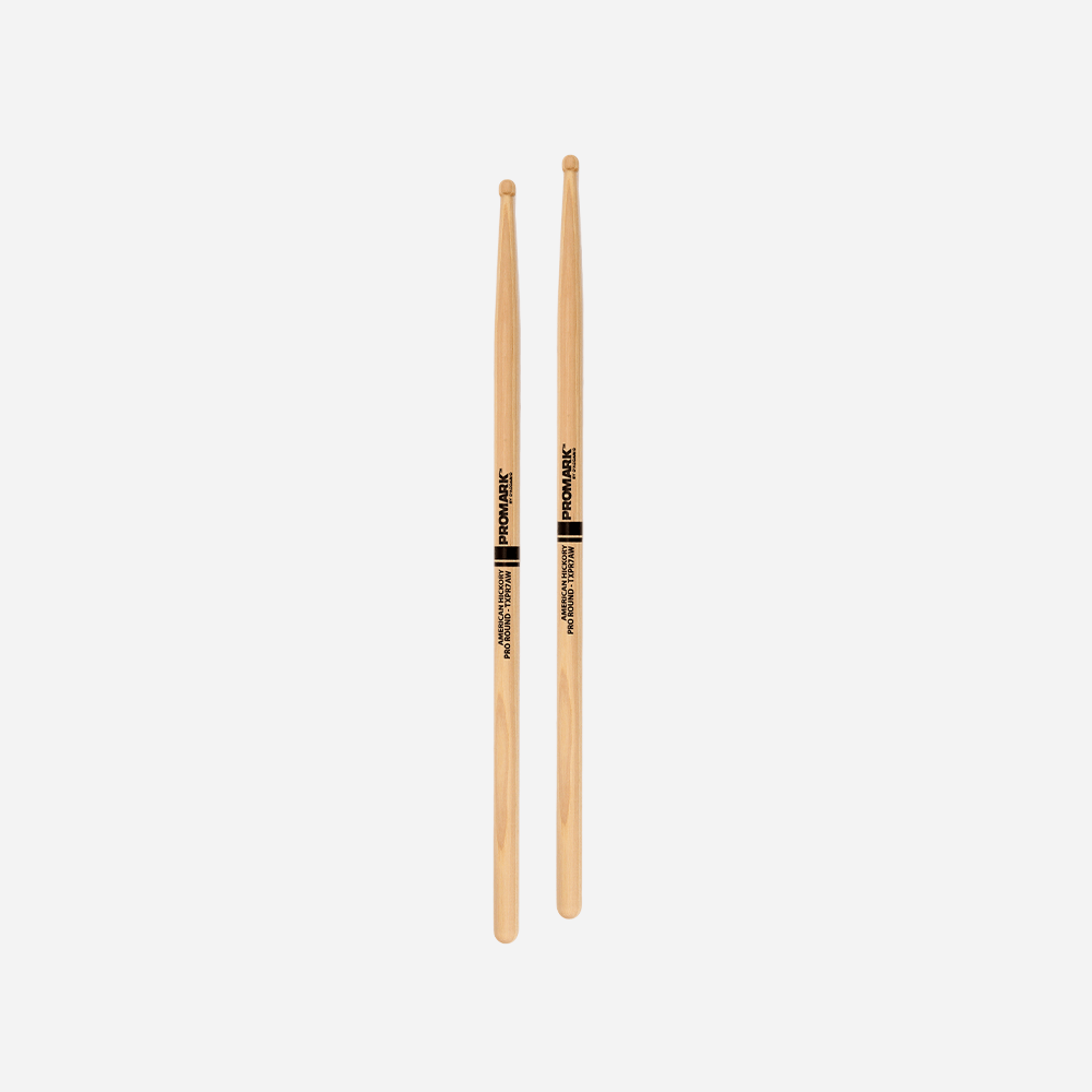 """Promark TXPR7AW Hickory 7A /""""Pro-Round/"""" Wood Tip Drum Sticks"""
